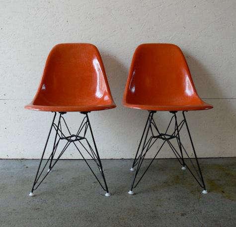 orange pair eames chairs