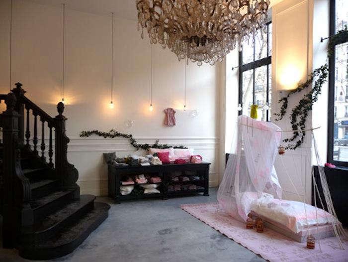 700 bonton store chandelier black staircase