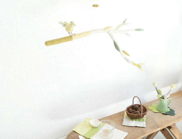 A vintage wood ironing board serves as a display area.