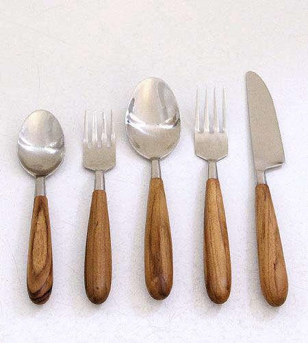 Tabletop Teak Cutlery Set portrait 3
