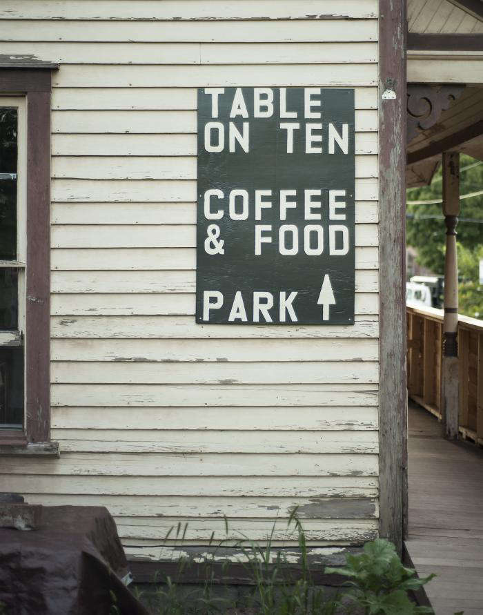 700 table on ten sign outdoors