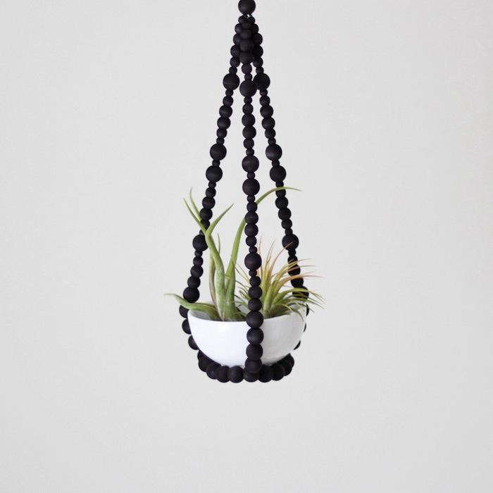 700 wooden beads black hanging plant