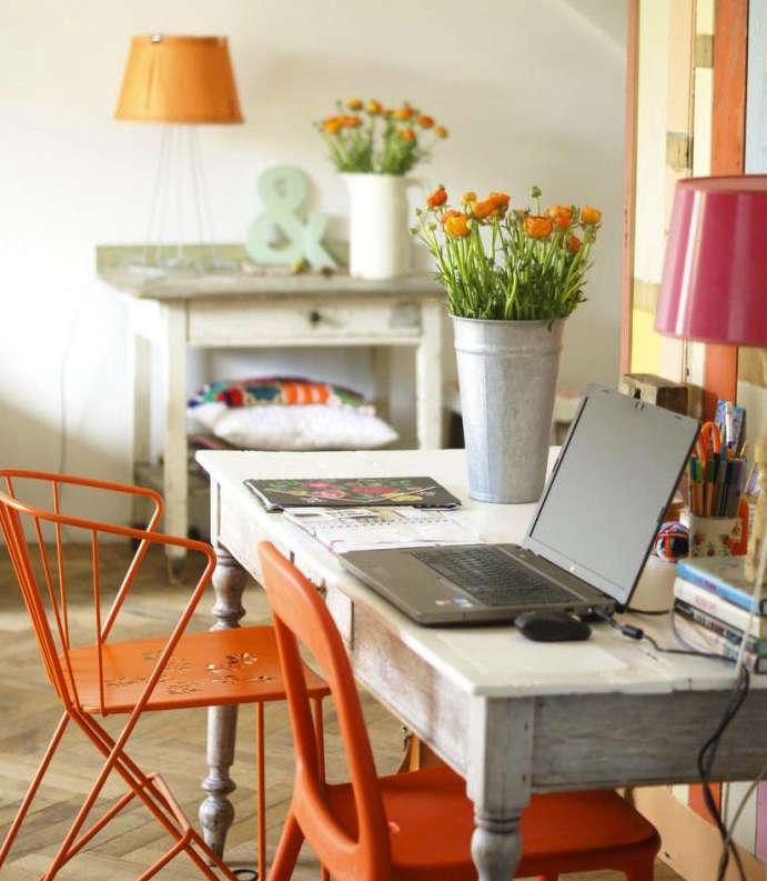 orange chairs wood desk 1