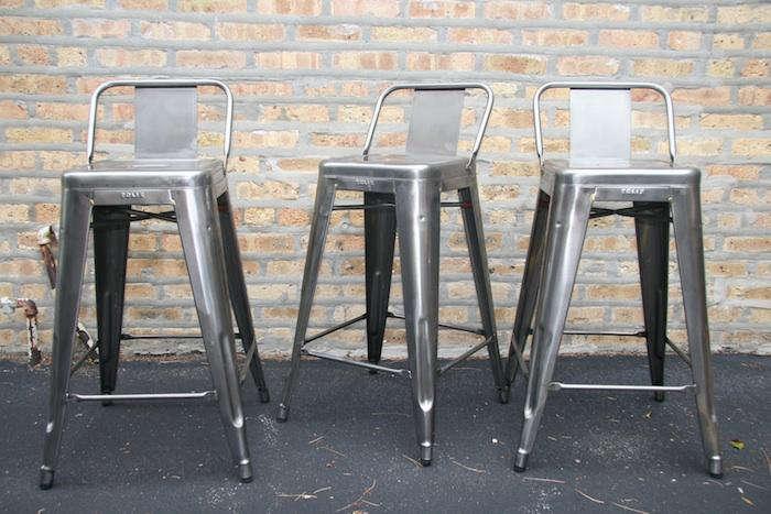 700 tolix metal stool back silver