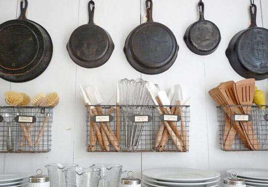cast iron pans row