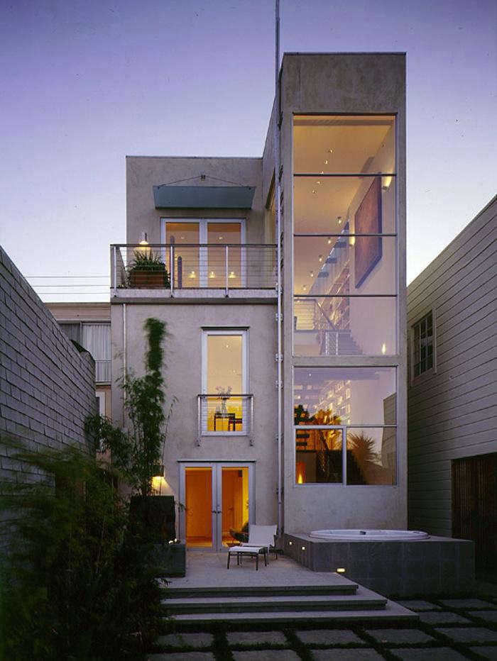 700 charlie barnett tall modern house at night