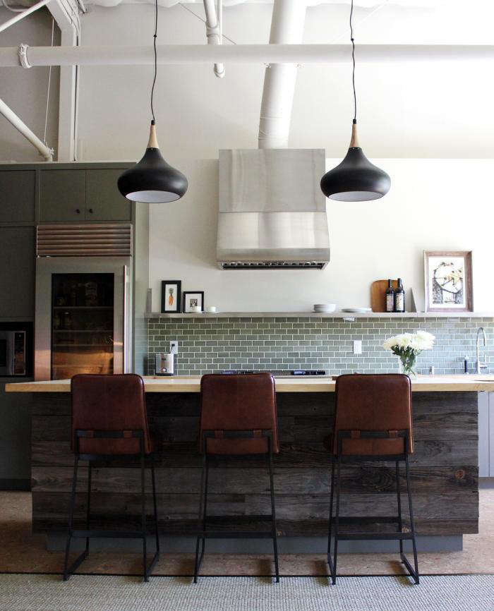 700 disc interiors green tile kitchen with pendant lights