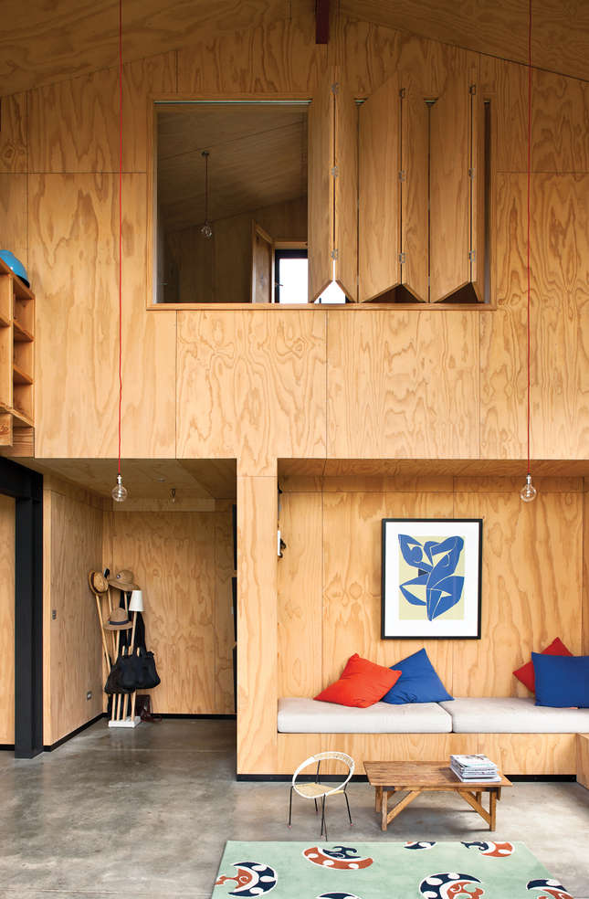 Plywood sheets line the entire interior of architect Davor Popadich&#8