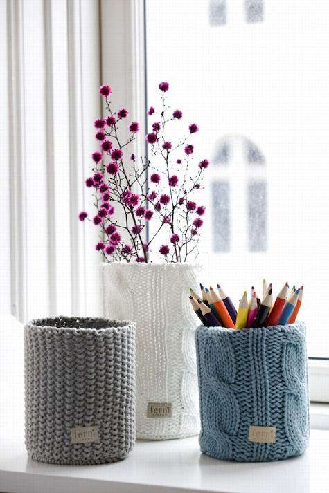 ferm living knitted pencil holder