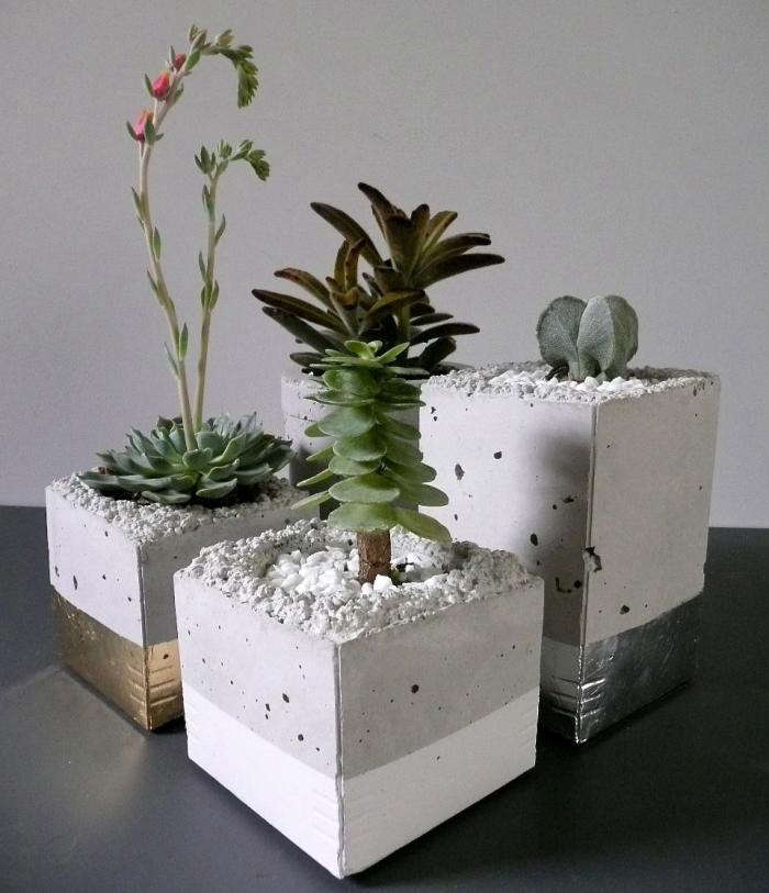 700 cement planter with metal leaf 1