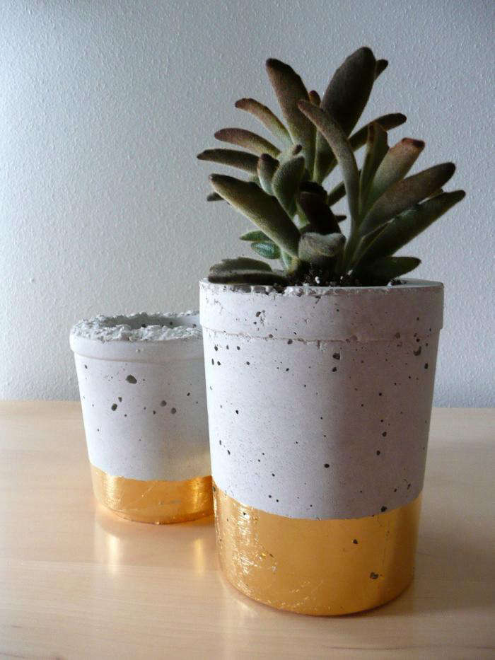 700 cement planter with metal leaf 2