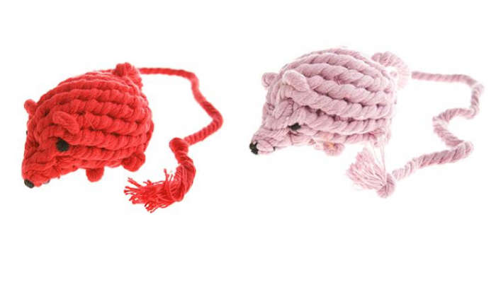 700 cotton rope mouse toy red pink