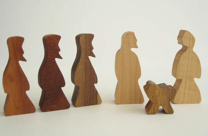 700 wooden block nativity scene simple