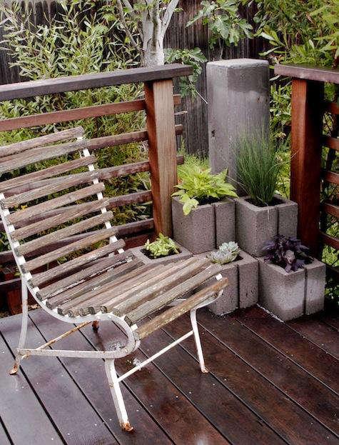 diy concrete planters white iron chair