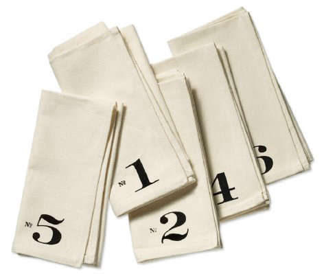 Numbered Edition napkins cascade full
