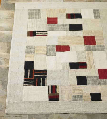 Walls Windows and Floors Patchwork Wool Rug portrait 3