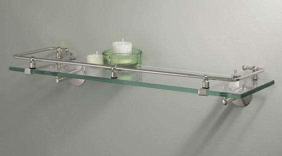 gatco glass bath shelf with rail