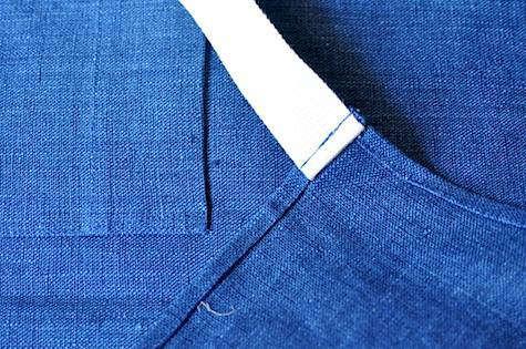march linen apron close up stitching