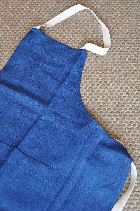 march linen indigo apron top
