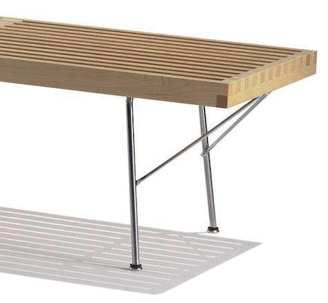 nelson bench metal legs detail