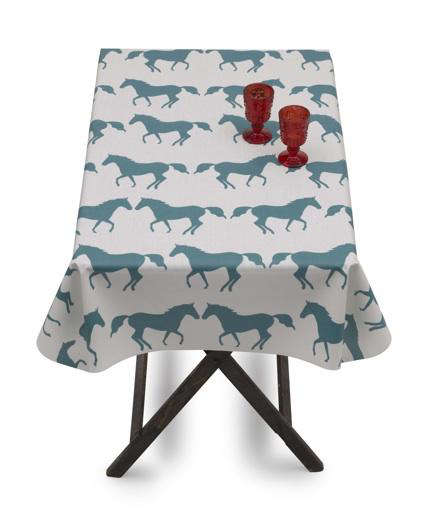 Outdoors Kissing Horses Oilcloth from Anorak portrait 3