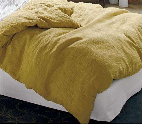 mustard linen duvet cb2