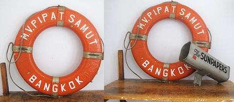 vintage orange life preserver