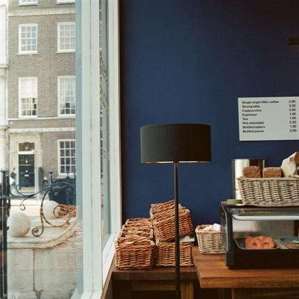 nordic bakery blue wall