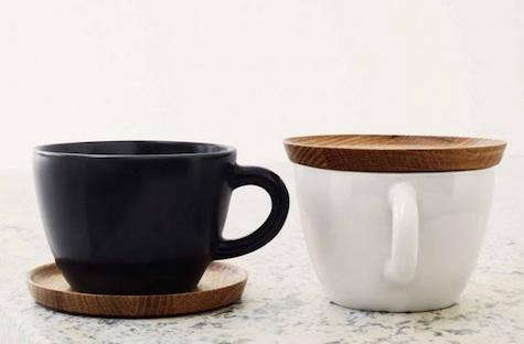 Tabletop HighLow Ceramic Cup with Wooden Saucer portrait 3