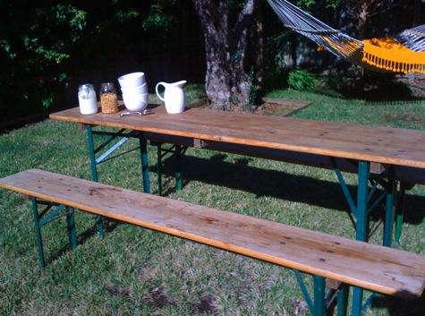 Outdoors German Beer Garden Table portrait 2
