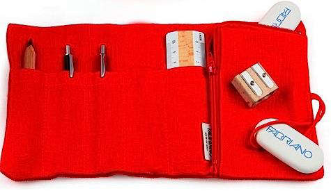 fabriano pencil case red
