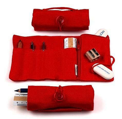 linen red pencil case