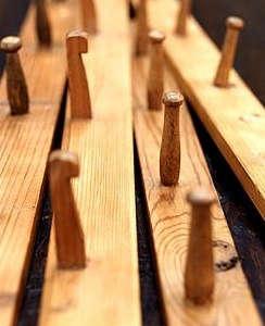 vintage wooden peg rails