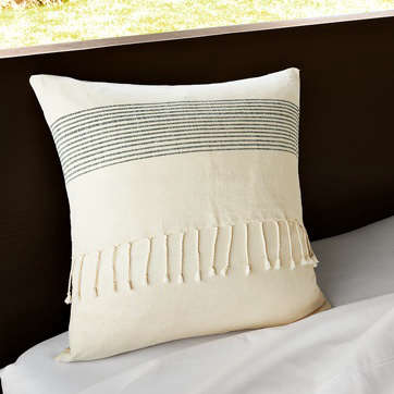 west elm striped fringed pillow