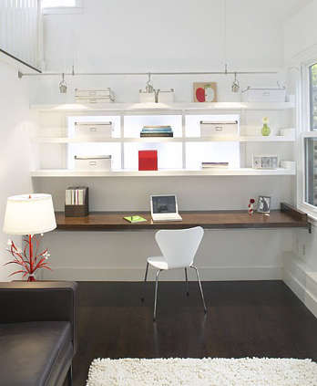 white and wood workspace