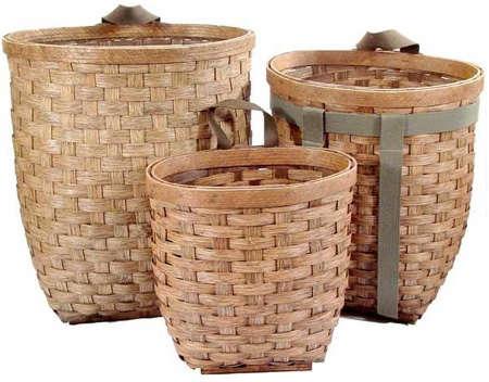 woven ash basket trio