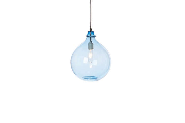 10 Easy Pieces Colorful Glass Pendant Lights Cisco Home&#8\2\17;sGlass Jug is available in three colors–sky is shown–and three sizes; prices start at \$585.