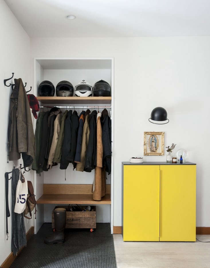 in place of a traditional coat closet, architect oliver freundlich designed an  9