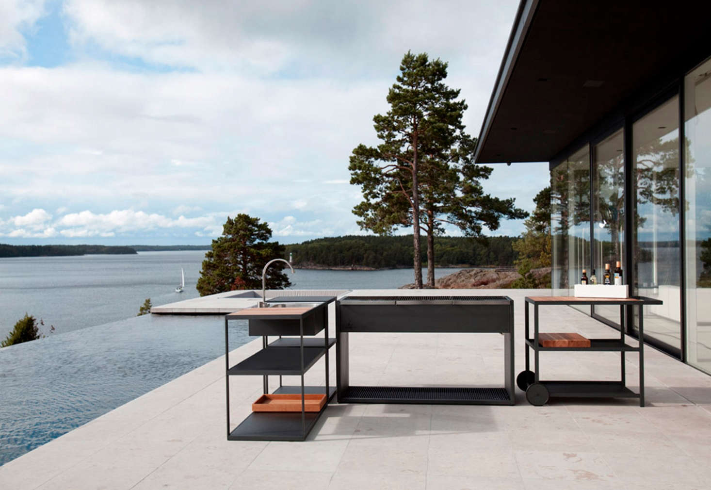 Designed by Swedish interior architects for Röshults, theGarden Outdoor Kitchenis meant to accompany one of their outdoor grills and can be situated anywhere. See Easy Pieces: Outdoor Kitchen Workstationson Gardenista for similar picks.