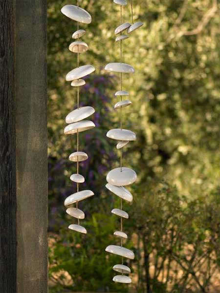 Moon-shaped wind chimes at Vivaterra