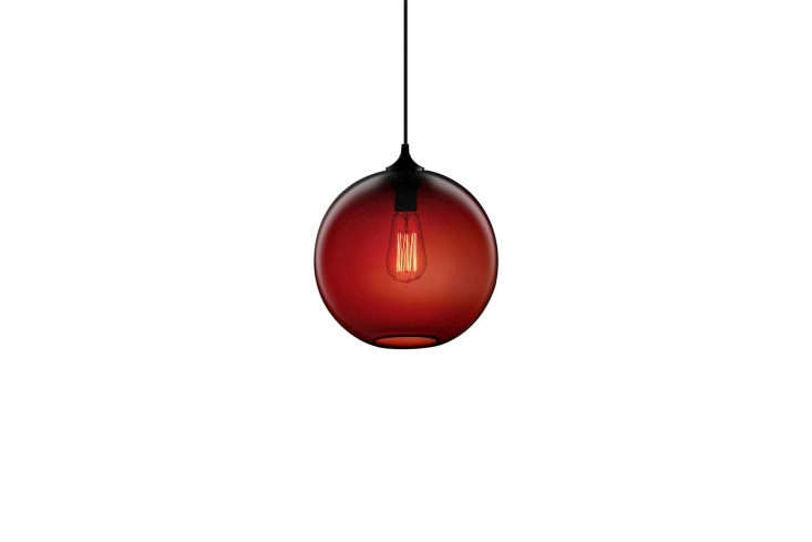 10 Easy Pieces Colorful Glass Pendant Lights One of our go to glass globe lights: Niche&#8\2\17;s Solitaire Pendant comes in crimson (shown) and nine other colors; prices start at \$53\1.\25 from Lumens.