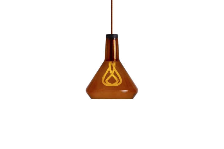 The Plumen Drop Top Pendant comes in amber (shown), black, and white glass; $loading=