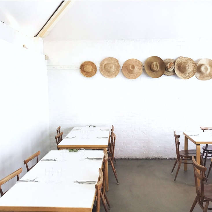vintage ercol chairs are used at rochelle canteen, in shoreditch, london, and c 13