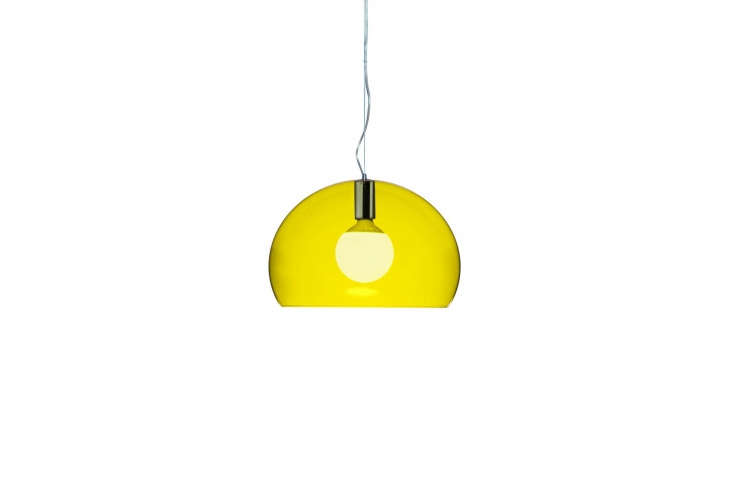 TheSmall Fl/y Suspension Lamp is the look of glass (methacrylate) for less and comes in  colors—shown in Transparent Yellow—for $7.75 at Hive. The full-sizeFl/y Suspension Lamp is $30loading=