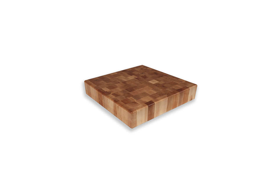 End-grain construction is made from small rectangular blocks arranged so that the ends (with growth rings showing) are visible on the surface. The strongest and most expensive type of butcher block, it&#8