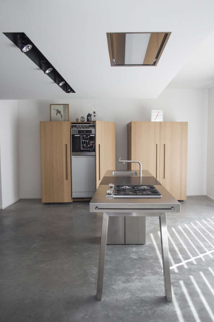 German kitchen line Bulthaup offers kitchens in cabinets: one conceals pantry goods; the other, appliances. See Good Küchen: 9 German Kitchen Systems.