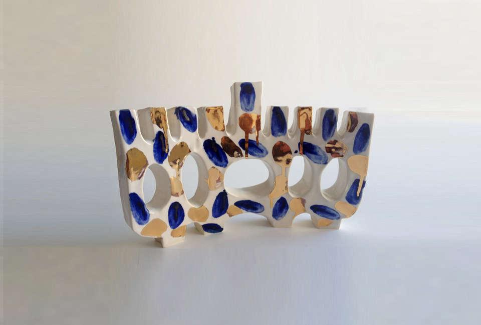 Paula Greif Ceramic Porcelain Menorah
