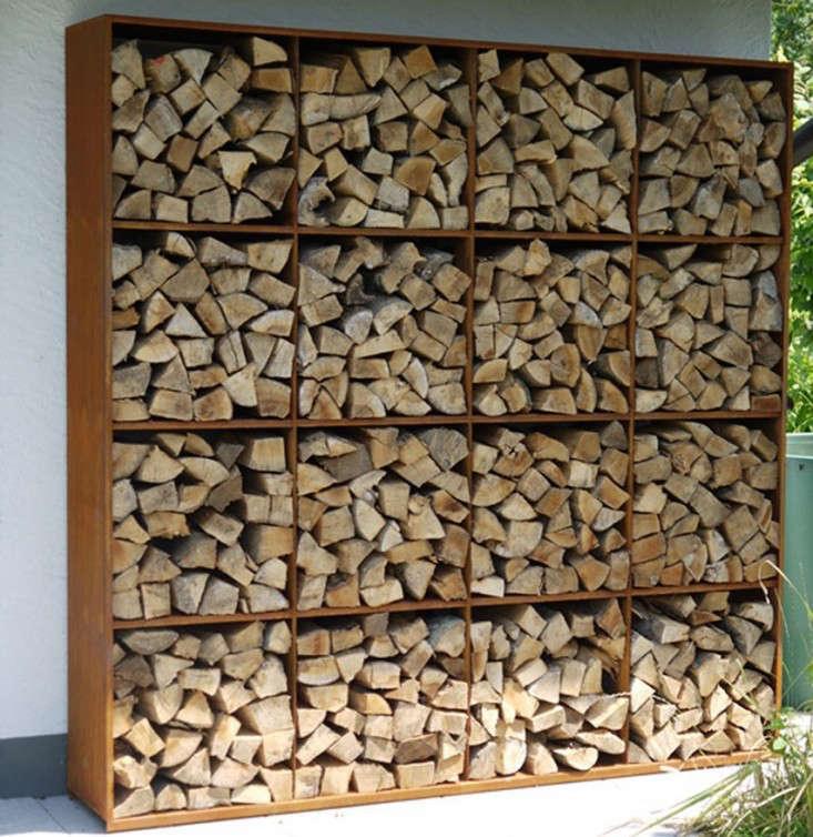 corten steel log firewood shelving gardenista 1