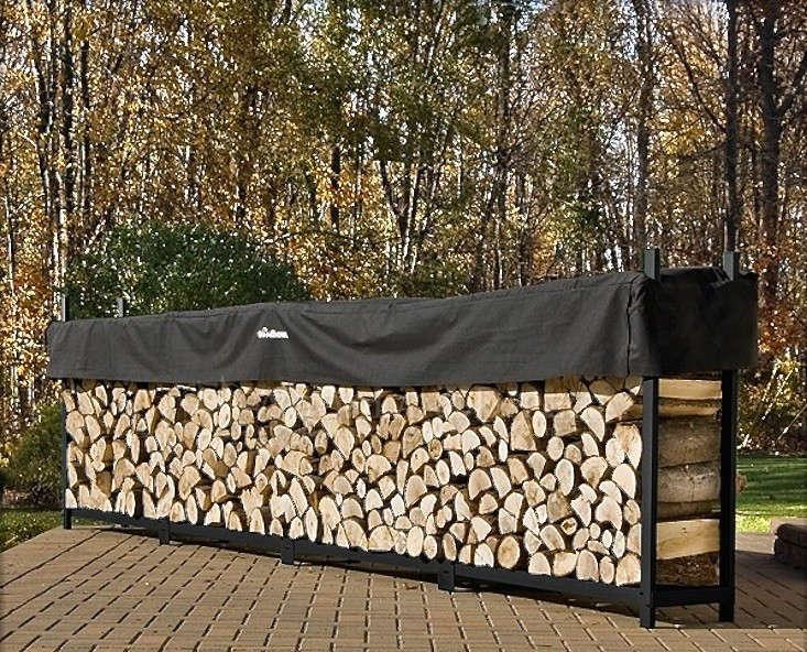 tarpaulin wood pile log stacker gardenista 1