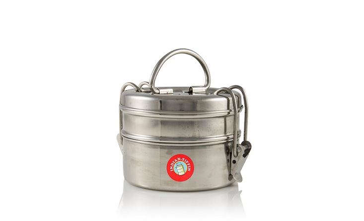 Remodelista contributor Megan Wilson uses Indian tiffin boxes as lunch boxes and also as leftovers containers–read her Object Lesson on the Trusty Tiffin Box. This stainless steel Two-Tier Indian Tiffin is $.89 from Amazon.